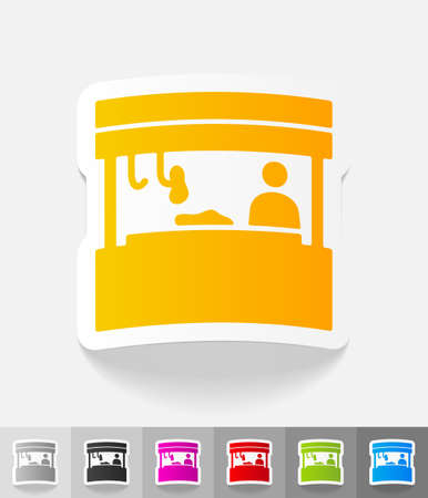 specialty store: salesman behind the counter paper sticker with shadow. Vector illustration Stock Photo