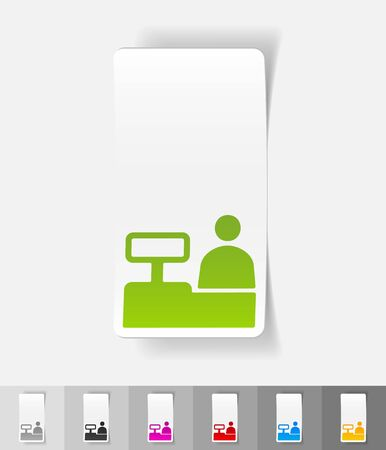 salesman behind the counter paper sticker with shadow. Vector illustration Stock Photo