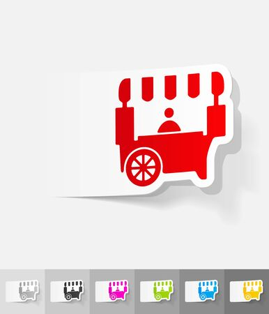 shop on wheels paper sticker with shadow. Vector illustration