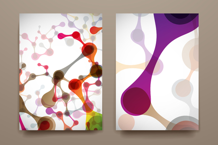 Set of brochure, poster templates in DNA molecule style. Beautiful design Illustration
