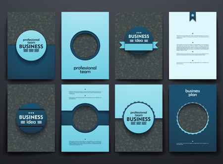 Vector design brochures with doodles backgrounds on business theme Illustration