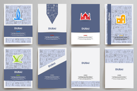 Corporate identity vector templates set with doodles Dubai theme. Target marketing concept