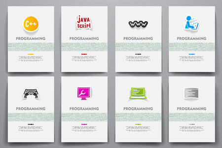 software design: Corporate identity vector templates set with doodles programming theme. Target marketing concept Illustration
