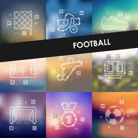 showground: football timeline presentations with blurred unfocused background Illustration