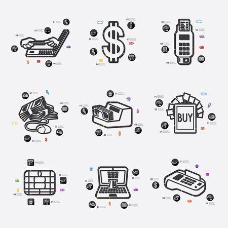 solvency: e-money line infographic illustration. Fully editable vector file