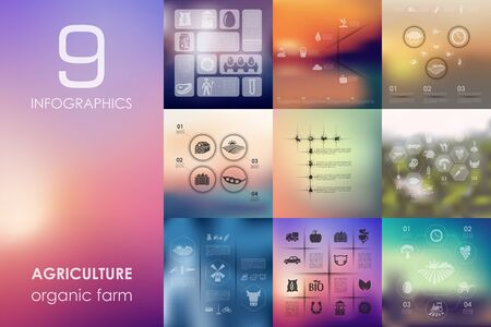 farming sign: agriculture vector infographics with unfocused blurred background