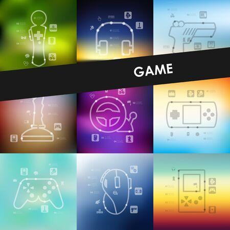 gaming: gaming timeline presentations with blurred unfocused background Illustration