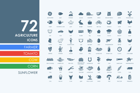 grain field: agriculture vector set of modern simple icons