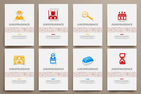 juror: Corporate identity vector templates set with doodles jurisprudence theme. Target marketing concept