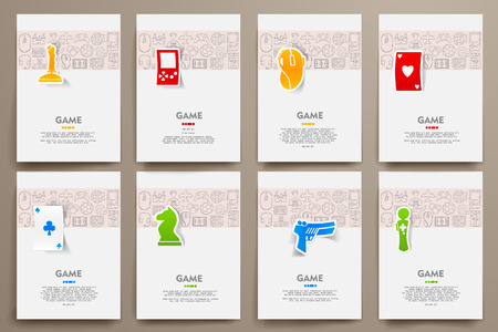brochure background: Corporate identity vector templates set with doodles gaming theme. Target marketing concept
