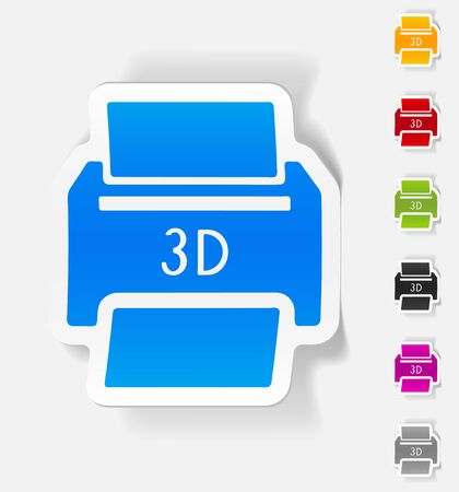 three d: realistic design element. three d printer Illustration