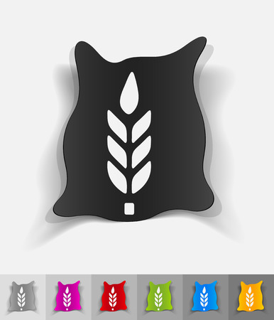 grain: bag of grain paper sticker with shadow. Vector illustration