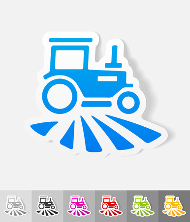agrimotor: tractor paper sticker with shadow. Vector illustration