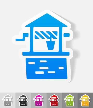 pulley: draw-well paper sticker with shadow. Vector illustration Illustration