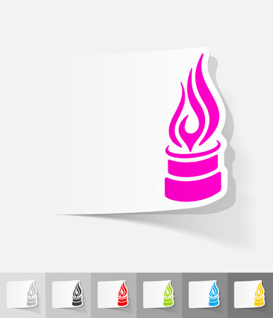 new generation: pipe with a flame paper sticker with shadow. Vector illustration