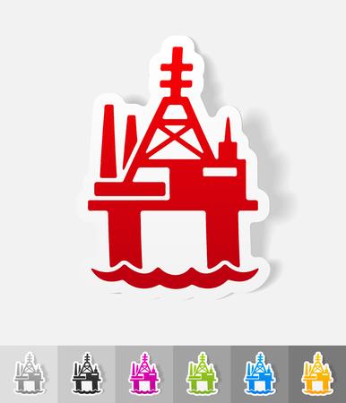 oil derrick: oil derrick in sea paper sticker with shadow. Vector illustration Illustration