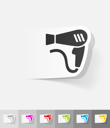 hair dryer: hair dryer paper sticker with shadow. Vector illustration
