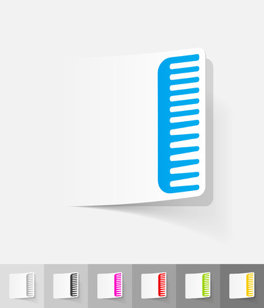 scallop: scallop paper sticker with shadow. Vector illustration