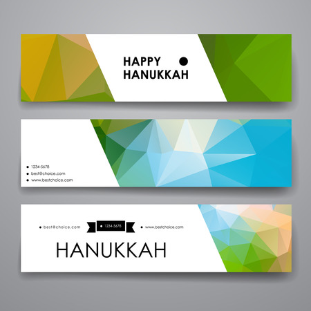 hanukah: Set of modern design banner template in Hanukkah style. Beautiful design and layout Illustration