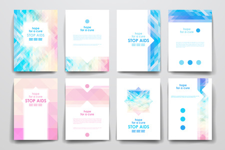business book: Set of brochure, poster templates in World AIDS Day style. Beautiful design and layout