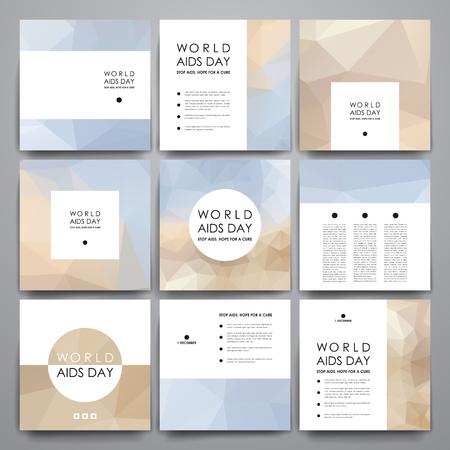 안내 책자 세트, 세계 에이즈의 날 스타일 포스터 템플릿. 아름다운 디자인 및 레이아웃