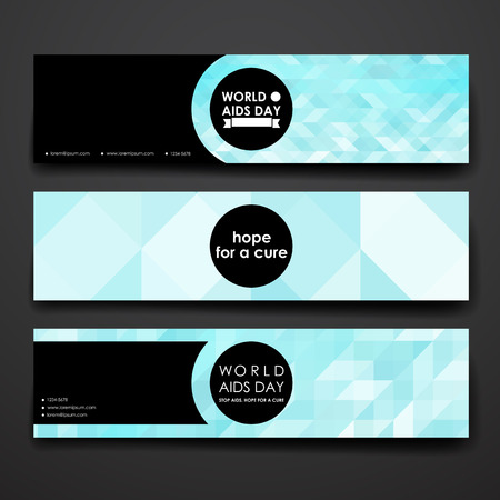 immunodeficiency: Set of modern design banner template in World AIDS Day style. Beautiful design and layout