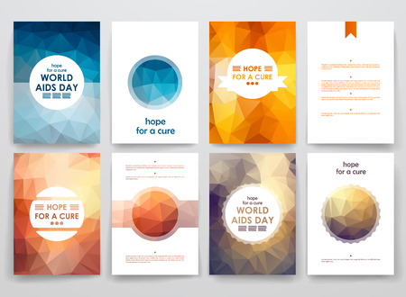 immunodeficiency syndrome: Set of brochure, poster templates in World AIDS Day style. Beautiful design and layout