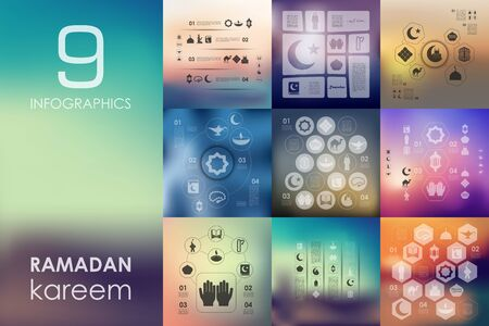 islamic pray: ramadan vector infographics with unfocused blurred background