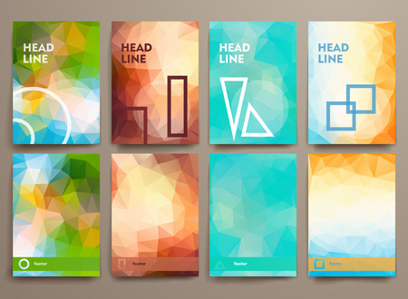 brochure layout: Set of abstract brochures in poligonal style. Beautiful frames and backgrounds. Illustration