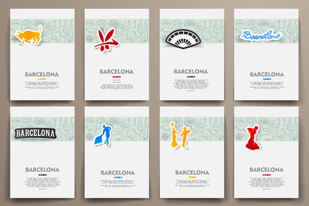 catalonia: Corporate identity vector templates set with doodles Barcelona theme. Target marketing concept
