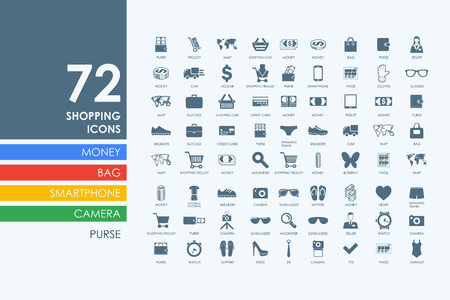 shopping bag icon: shopping vector set of modern simple icons