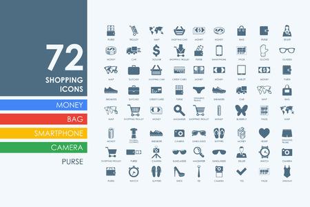 shopping vector set van de moderne eenvoudige pictogrammen Stock Illustratie