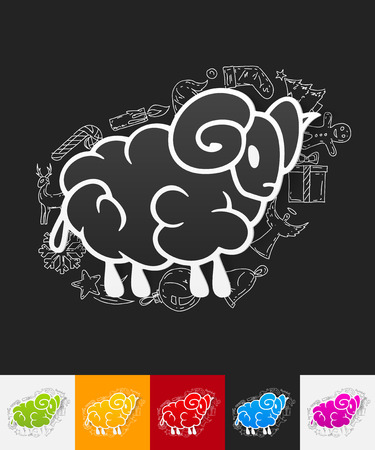 bleating: hand drawn simple elements with sheep paper sticker shadow Illustration
