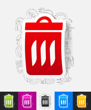 ecological adaptation: hand drawn simple elements with trash can paper sticker shadow Illustration