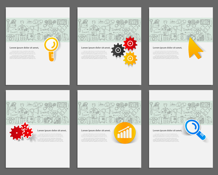 ard: Corporate identity vector templates set with doodles business icons. Target marketing concept.