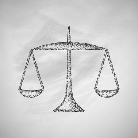 lawyer court: scales icon Illustration