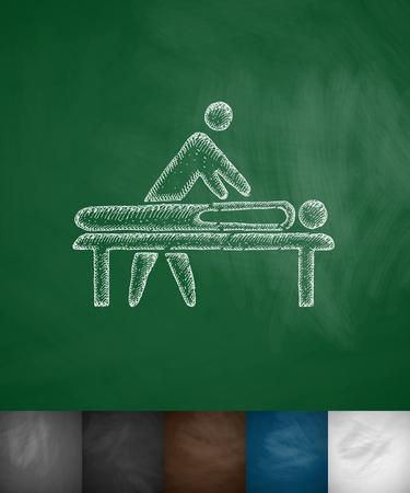 physiotherapist: massage icon. Hand drawn vector illustration. Chalkboard Design Illustration
