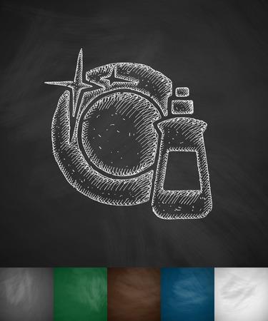product background: dishwashing liquid icon. Hand drawn vector illustration. Chalkboard Design