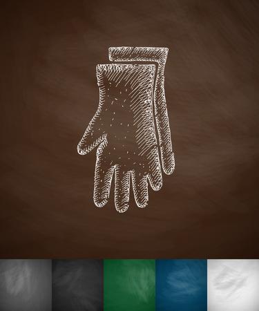 line work: gloves icon. Hand drawn vector illustration. Chalkboard Design Illustration