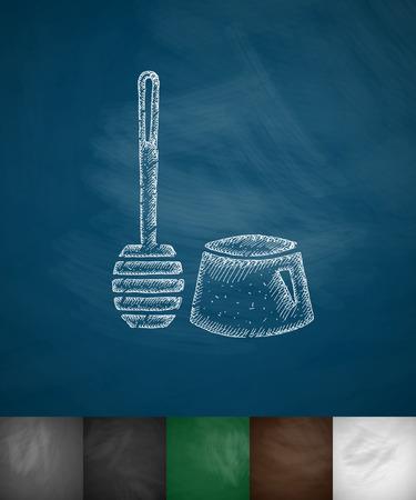 toilet brush: toilet brush icon. Hand drawn vector illustration. Chalkboard Design