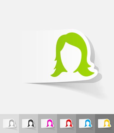 hair styling paper sticker with shadow. Vector illustration