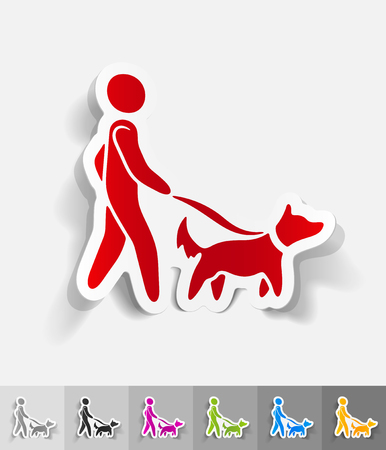 dog walking: walking the dog paper sticker with shadow. Vector illustration