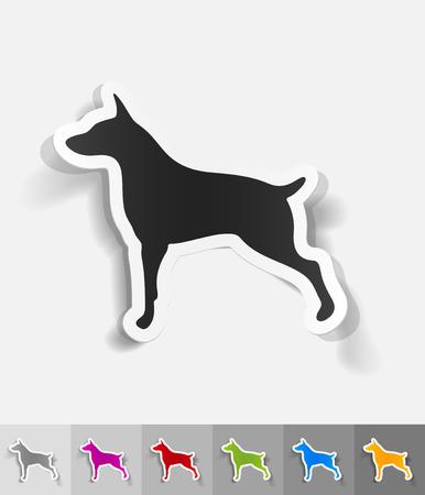 doberman: doberman paper sticker with shadow. Vector illustration