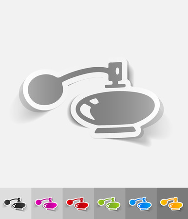 perfume bottle: perfume bottle paper sticker with shadow. Vector illustration