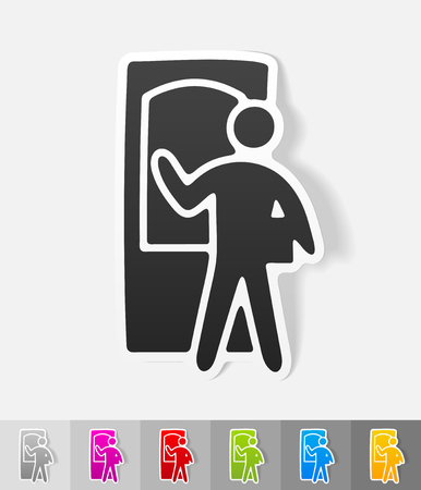blank template: delivery man paper sticker with shadow. Vector illustration Illustration