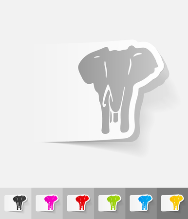 animal viviparous: elephant paper sticker with shadow. Vector illustration