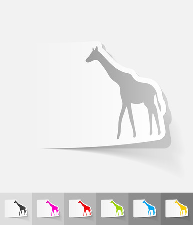 viviparous: giraffe paper sticker with shadow. Vector illustration
