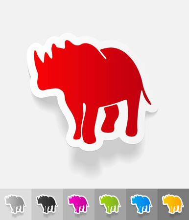 viviparous: rhino paper sticker with shadow. Vector illustration