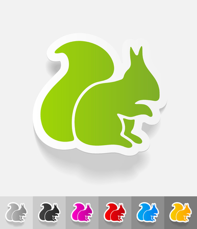 isolated squirrel: squirrel paper sticker with shadow. Vector illustration