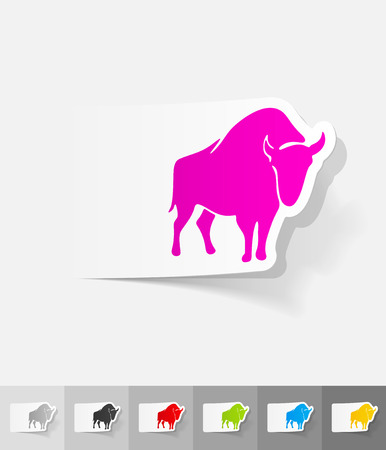viviparous: aurochs paper sticker with shadow. Vector illustration